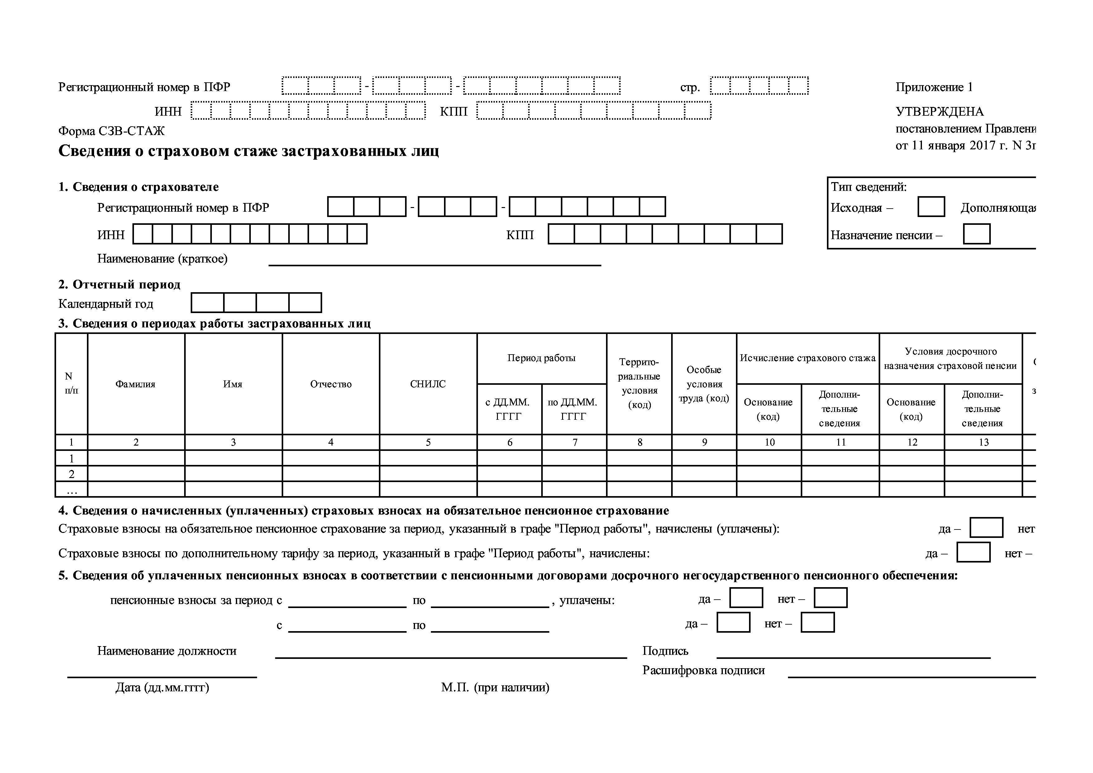 инструкция по заполнению формы р21001 в 2018г